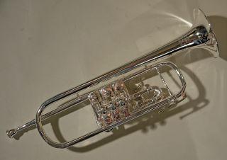 Melton B - Konzert - Trompete – Komplett überholt; Versilbert - Trigger 3.  Zug Bild