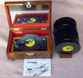Alte Thorens Spieluhr / Spieldose In Holzschatulle Mit 11 Platten Bild