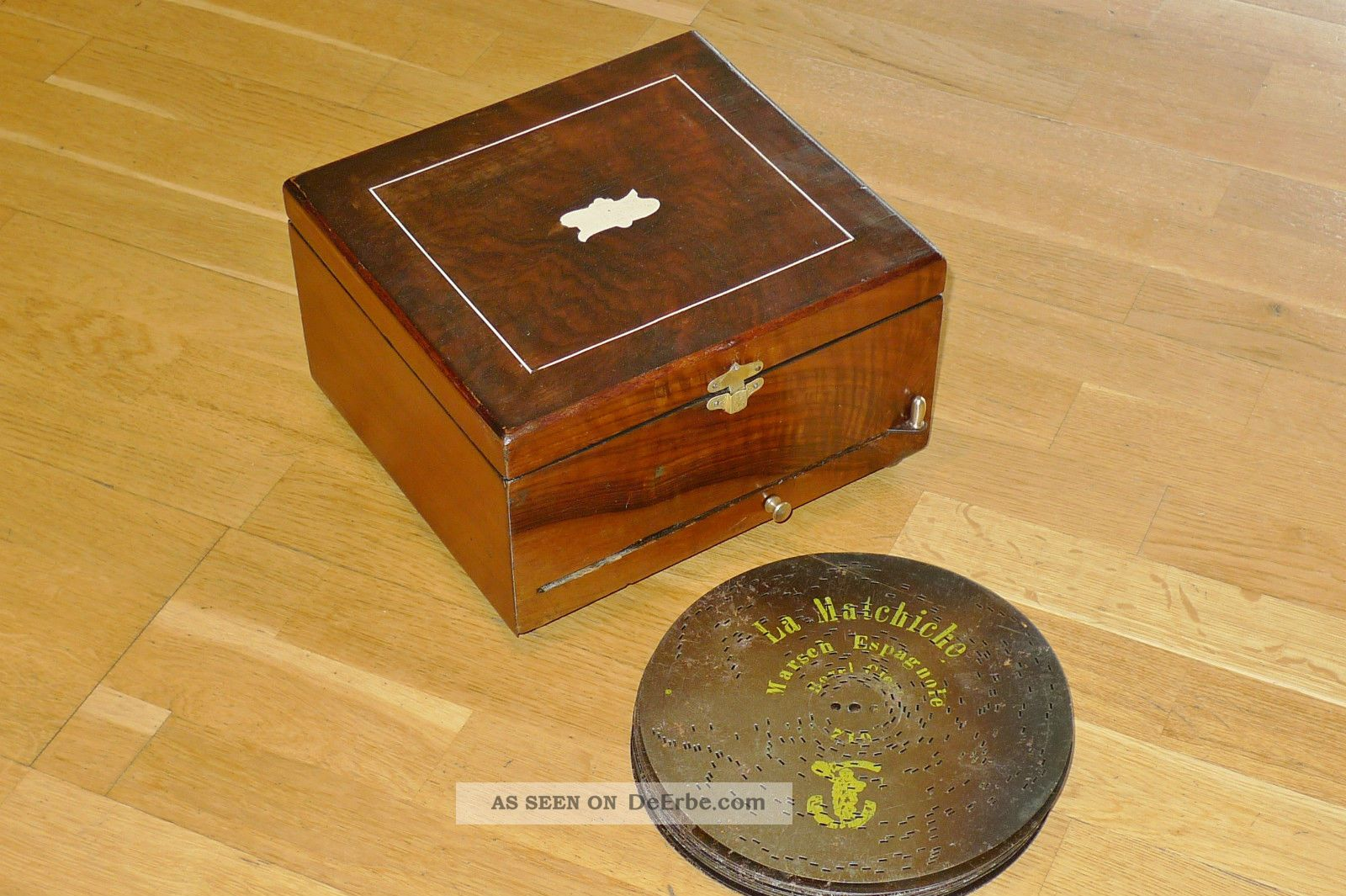 polyphon platten spieluhr um 1900 mit 12 stck 20 5 cm. Black Bedroom Furniture Sets. Home Design Ideas