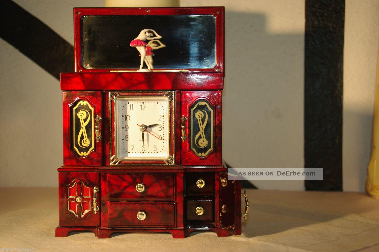 schmuckk stchen spieluhr schmuckdose mit uhr spiegel. Black Bedroom Furniture Sets. Home Design Ideas