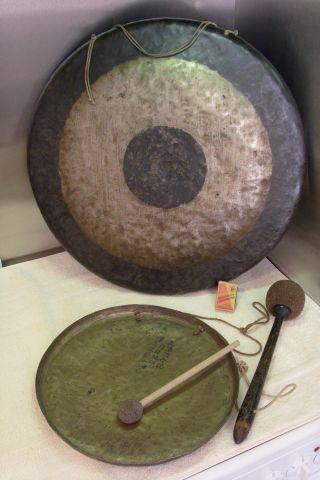 Uralter Großer Und Kleiner Gong - Klangschale Bild