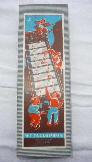 Metallophon Xylophon Für Kinder,  Mit 12 Klangplatten Aus Den 60er Jahre Ovp Bild