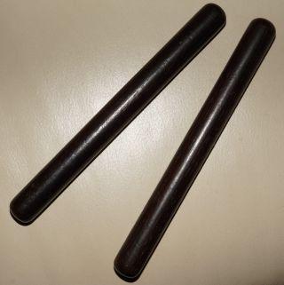 Alte Klangstäbe (paar) Aus Edlem Dunklen Holz Je 18cm Lang Bild