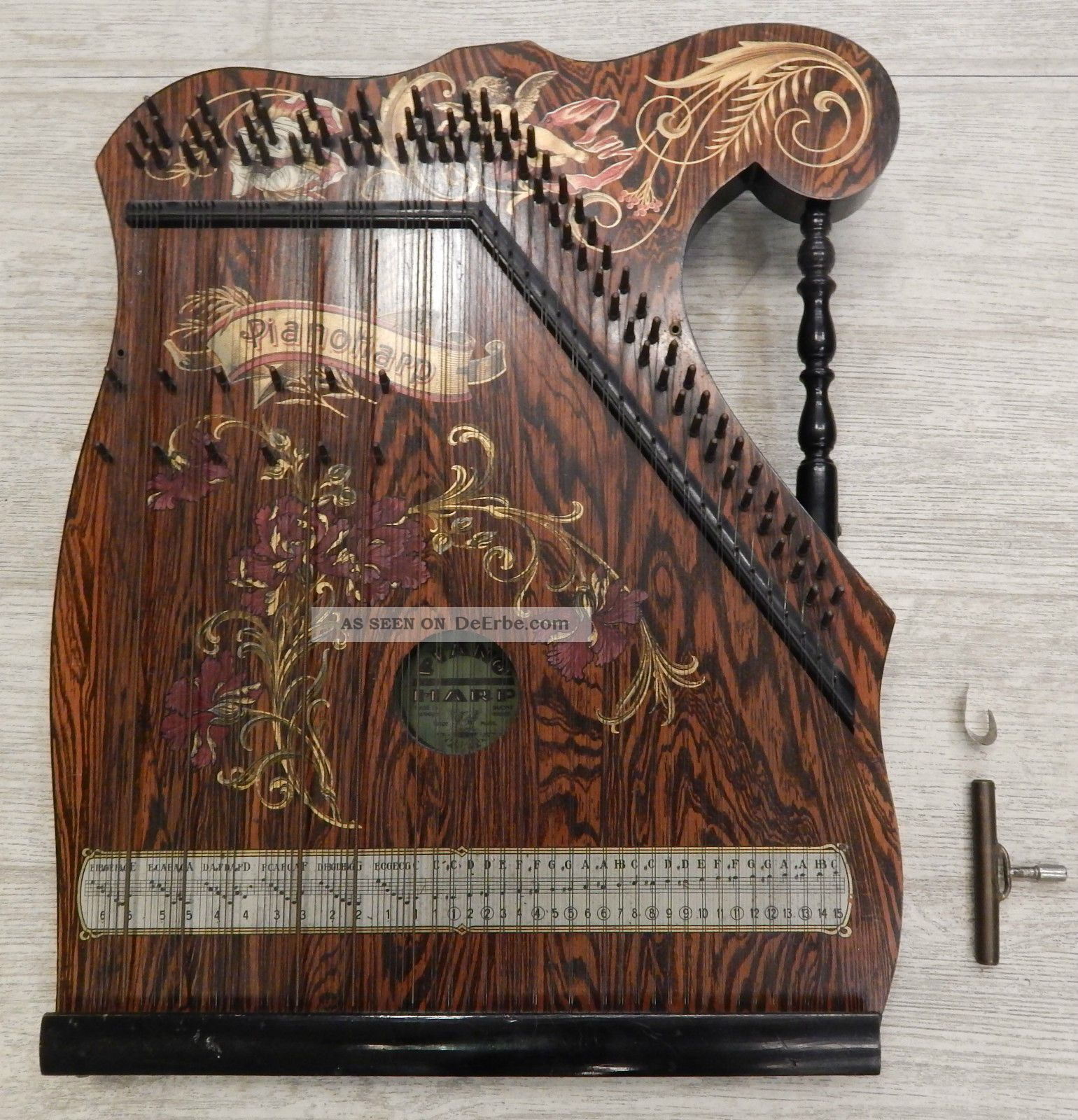 alte zither pianoharp made in germany trade 39 mark holz instument mit schl ssel. Black Bedroom Furniture Sets. Home Design Ideas