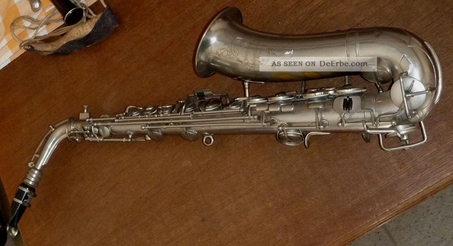 Altes Saxophon C.  A.  Wunderlich,  Siebenbrunn/vogtl,  Koffer,  Zubehör Blasinstrumente Bild