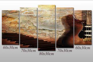 Leinwandbild Noten E - Gitarre Klavier Piano Musik Abstrakt Grafik Bilder Wandbild Bild