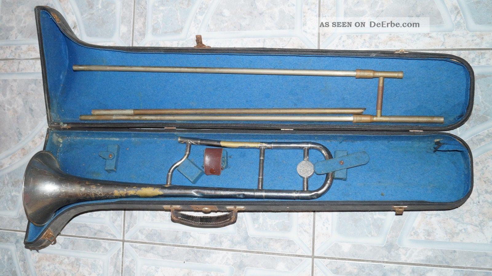 sehr alte zugposaune im koffer aus nachlass. Black Bedroom Furniture Sets. Home Design Ideas