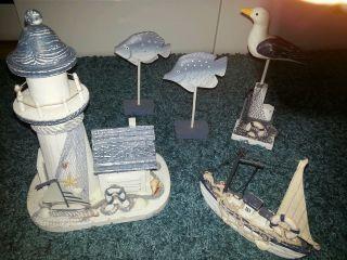 Maritime Dekoration Konvolut Leuchtturm Mit Haus - Schiff - Fische Möve Top Bild