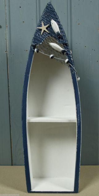 Bootsregal Regal In Bootform Ca.  44,  5x14x8cm Blau/weiß Mit Kl.  Fehlern Bild