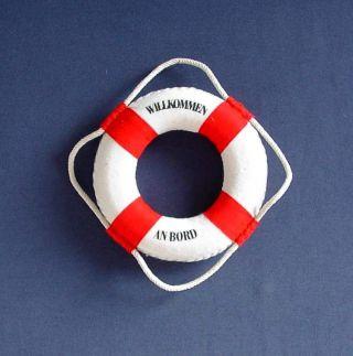 Rettungsring Rot/weiss 14 Cm Zur Dekoration Von Einem Fischernetz Dekoring Bild