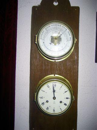 Alte Originale Schatz - Schiffsuhr Und Barometer Bild