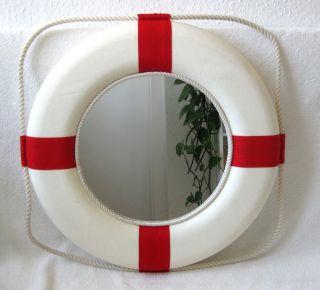 Großer Deko Rettungsring Mit Spiegel Ø 50cm Rot - Weiß Bild