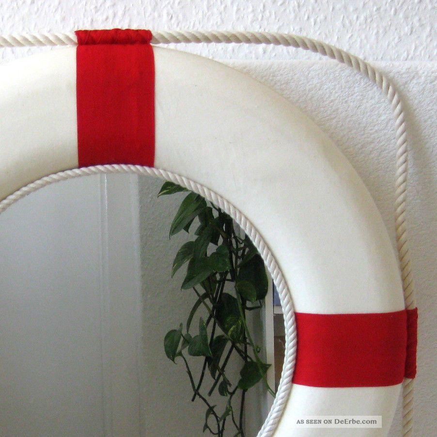 gro er deko rettungsring mit spiegel 50cm rot wei. Black Bedroom Furniture Sets. Home Design Ideas