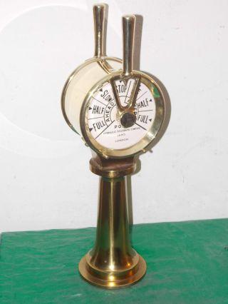 Alter Maschinentelegraph Port Hydraulic Telegrap Control Jan ' S London Messing Bild