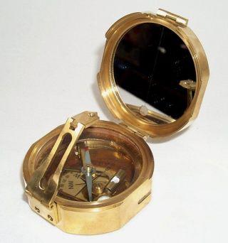 Stanley Kompass Mit Holzbox Tischkompass Messing Poliert Bild