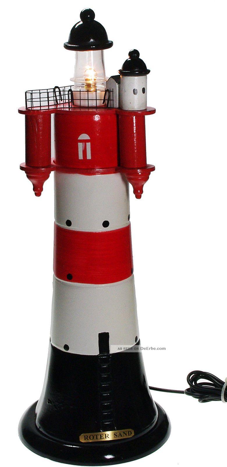 roter sand blinkender leuchtturm aus holz blinklicht nordsee mit netzger t. Black Bedroom Furniture Sets. Home Design Ideas