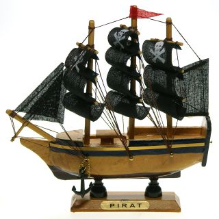 Piraten Segelschiff Piratenschiff Totenkopf Deko Standmodell Rote Fahne Bild