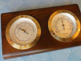 Hochwertig Barigo Barometer Wetterstation Massiv Messing Glas Holz Maritim Bild