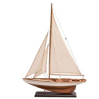 Segelboot Segelschiff Segelyacht Holz Weiß Deko Standmodell L.  62cm H.  85 Cm Bild