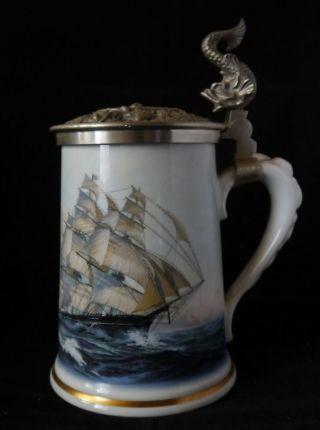 Limoges Franklin Porzellan Krug Zinndeckel Schiffe Maritim Segelschiffe Rar Bild