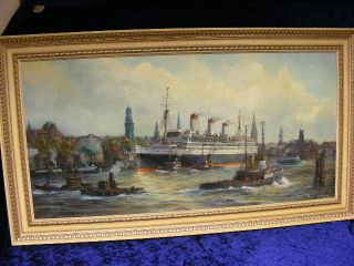 Ölgemälde Von Fred Müller Hamburger Hafen Mit Der Caparcona Bild