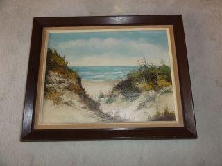Ölgemälde Auf Leinwand Dünen Strand Meer Signiert Bild