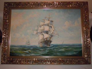 Sehr Großes Ölgemälde Segelboote Segelschiffe Auf Offenem Meer Gemälde Signiert Bild