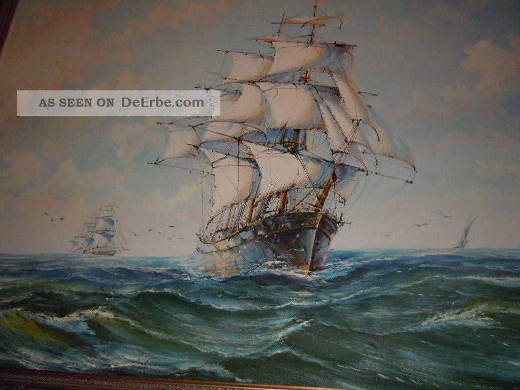 Segelschiffe auf dem meer  Sehr Großes Ölgemälde Segelboote Segelschiffe Auf Offenem Meer ...