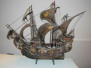 Altes Piratenschiff Holz Modellschiff Kriegsschiff Schiff Kellerfund Rar Bild