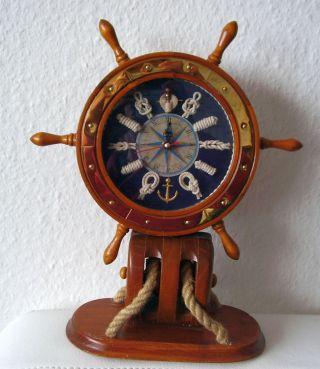 Quarz Uhr Tischuhr Standuhr Nautik Maritim Steuerrad Auf Winde Seemannsknoten Bild