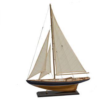 Segelboot Segelschiff Segelyacht Holz Blau U.  Weiß Deko Standmodell 62cm. Bild