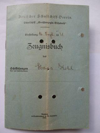 Zeugnisbuch 1931 Schulschiff Großherzogin Elisabeth Kapitänunterschrift Bild