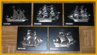 5 Maritime Relief Metallbilder Auf Holzplatten Leder Segelschiffä Bild