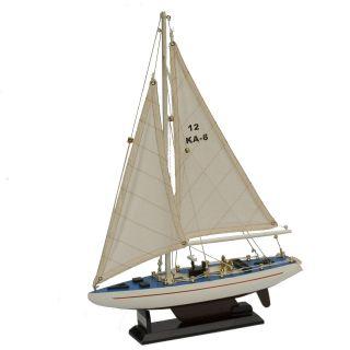Segelyacht Segelboot Segelschiff Holz Weiß U.  Blau Dekoration Standmodell Bild