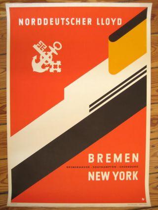 Reedereiplakat Ndl Schifffahrts/reederei Poster Bremen York Ca.  1930 Bild