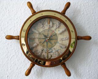 Steuerrad Aus Holz Ii.  Wahl Mit Uhr Und Knoten Ø Ca.  28cm Messing Bild