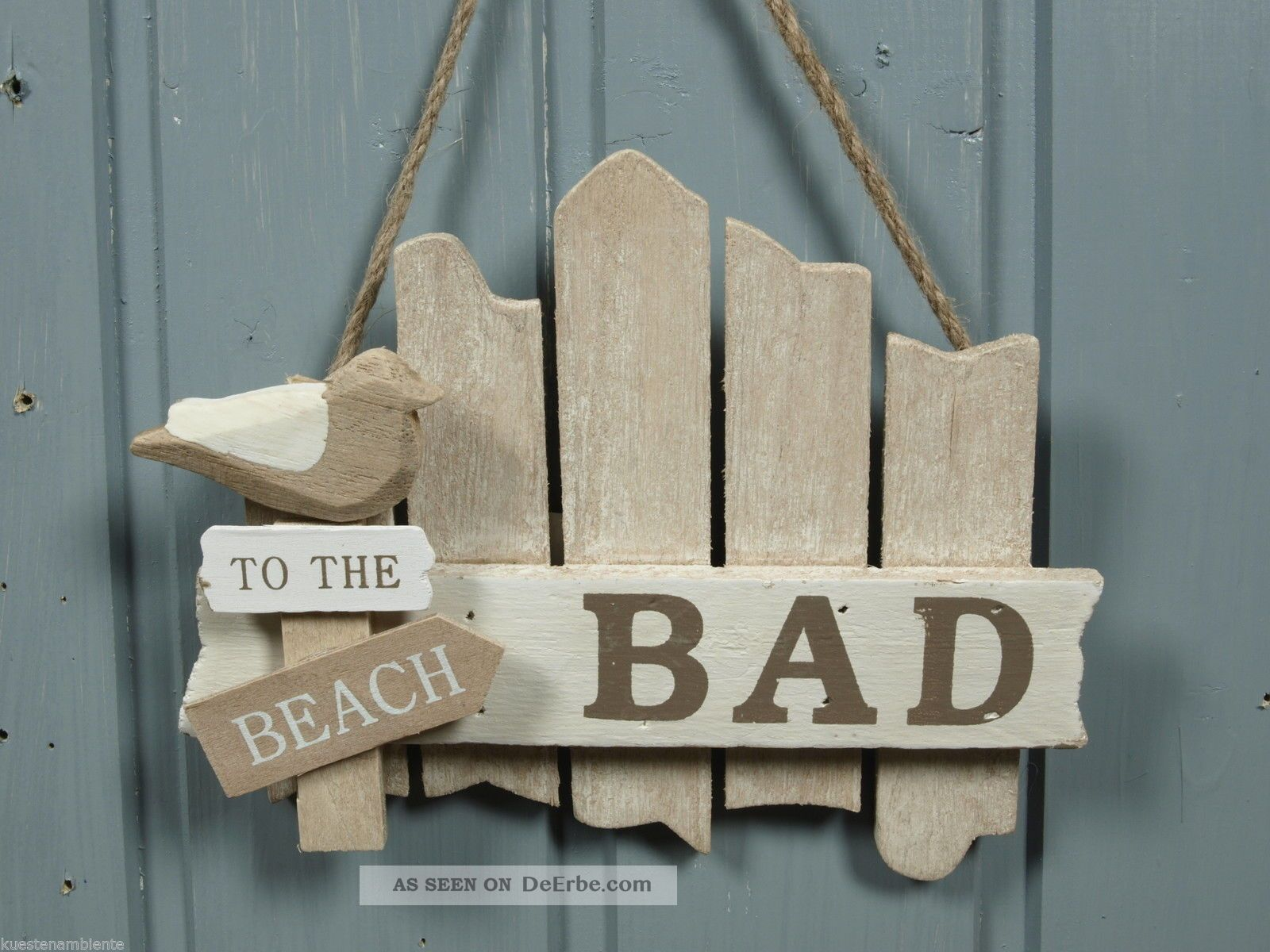 t r schild bad aus holz to the beach ca 17x14cm. Black Bedroom Furniture Sets. Home Design Ideas