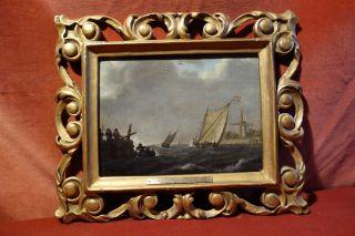 Tolles Seestück In Prächtigem Rahmen,  Sign.  J.  C.  Schotel (1787 - 1838),  Öl Auf L. Bild