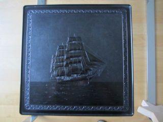 Schachtel Bakelit Deckeldose Schiff Segelschiff Gorch Fock Aufbewahrung Maritim Bild