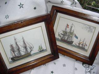 Aus Nachlass : 2 Wunderschöne Kunstdrucke Mit Hist.  Segelschiffen / Hinter Glas Bild