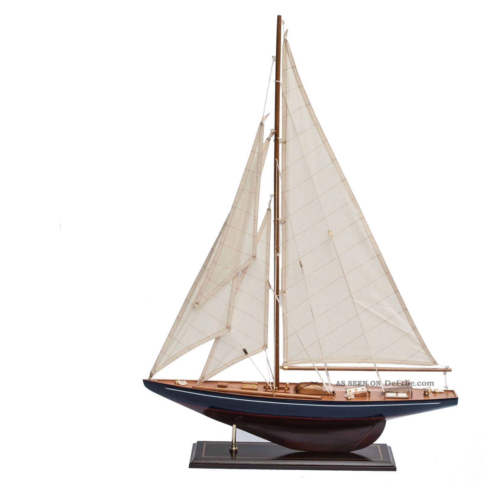 Segelboot Segelschiff Segelyacht Holz Blau U Rot Deko