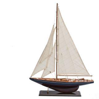 Segelboot Segelschiff Segelyacht Holz Blau U.  Rot Deko Standmodell 62cm. Bild