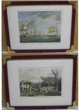 2 Bilder Mit Rahmen Maritimer Art Mahaghonifarben Mit Metallecken 43,  5 X 29,  5 Cm Bild