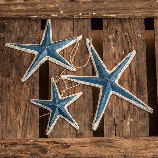 3 Seesterne Am Seil Holz Hafen Meer Deko Maritim Shabby Weiß/ Blau 77cm A43 - 1 Bild
