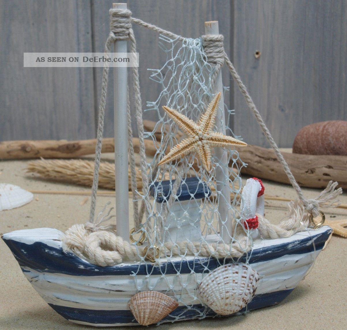 Fischerboot aus holz mit fangnetz bad deko 12 5x12cm - Maritime deko ...