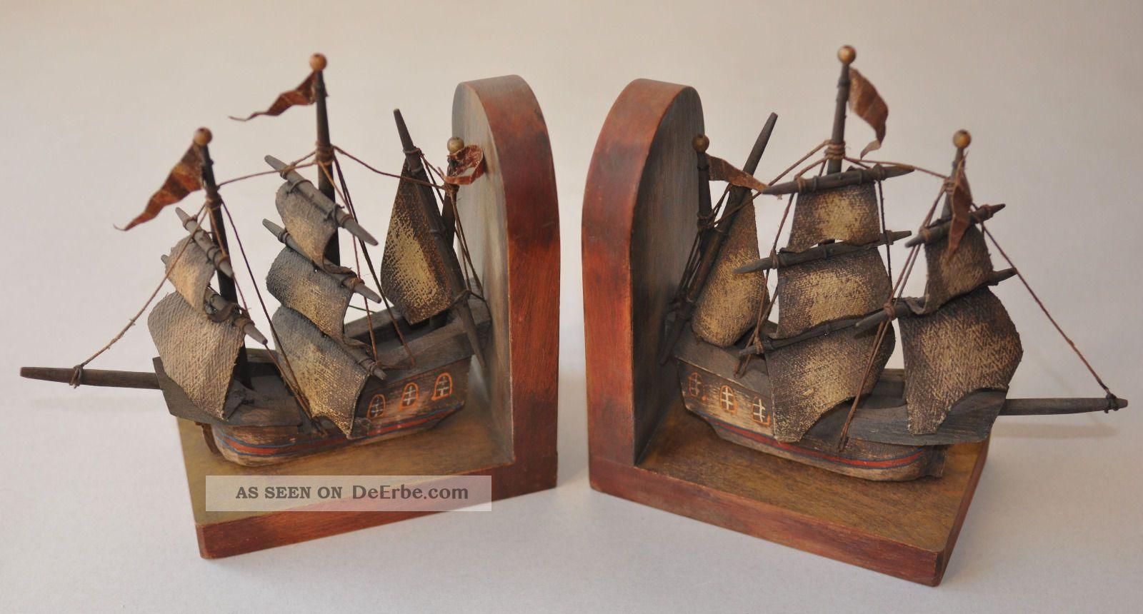 alte buchst tzen segelschiff 3 master kogge aus holz ca 1950 buchhalter skulptur. Black Bedroom Furniture Sets. Home Design Ideas