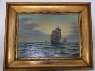 Antikes,  Maritimes Ölgemälde Seestück Großsegler Dänischer Maler Bild
