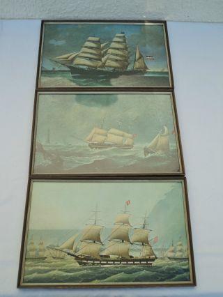 3 Bilder Segelschiffe Windjammer Drucke 50er Jahre Bild
