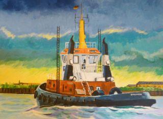 Altes Ölbild,  Schiff