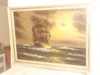 Antikes Maritimes Imposantes ÖlgemÄlde SeestÜck